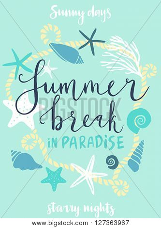 Summer beach party hand drawn calligraphyc card. Vector illustration.