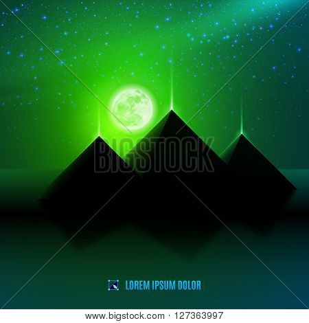 Green night egypt desert fantasy landscape background illustration with moon pyramids and stars