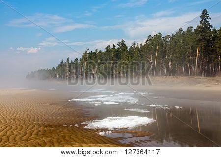 Spring landscape with fog on the river. Russia Siberia Novosibirsk region Ob river