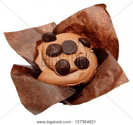 Gluten Free Chocolate Chip Cupcake in bakery paper over white isolated.