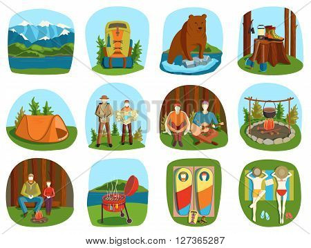 Set of camping equipment symbols and icons summer outdoor vacation vector illustration. Camping cartoon people and camping forest backpack. Camping summer outdoor icons vacation equipment collection.