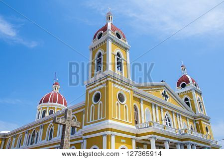 GRANADA NICARAGUA - MARCH 20 : The Granada cathedral in Granada Nicaragua on March 20 2016. The original church constructed in 1583 and was rebuilt in 1915