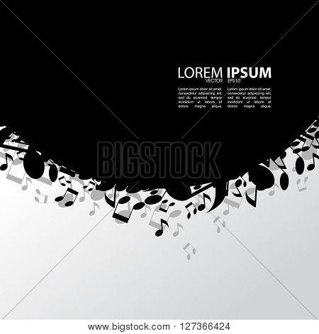 eps10 vector blank black frame, scattered musical notes elements