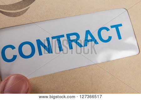 Contract In Brown Envelope, Can Use Business Concept