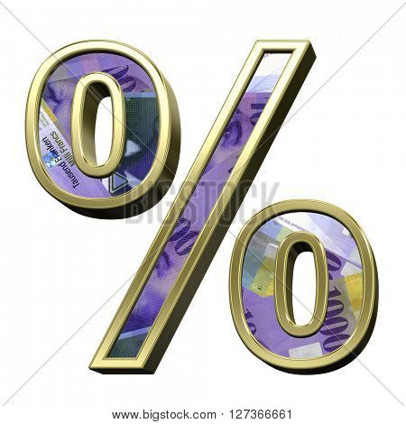 Percent sign from swiss franc bill alphabet set isolated over white. 3D illustration.