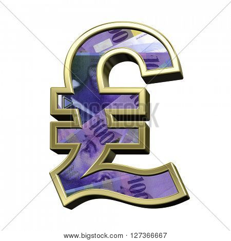 Pound sign from swiss franc bill alphabet set isolated over white. 3D illustration.