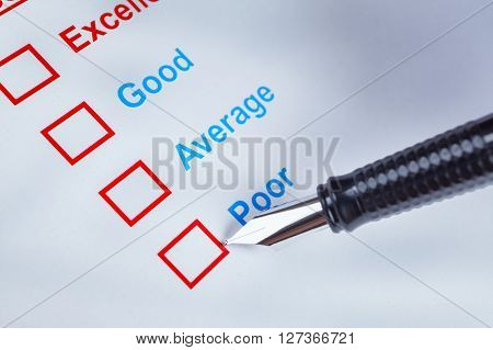 Customer Satisfaction Survey Checkbox With Rating And Pen Pointing At Poor, Can Use Any Business Con