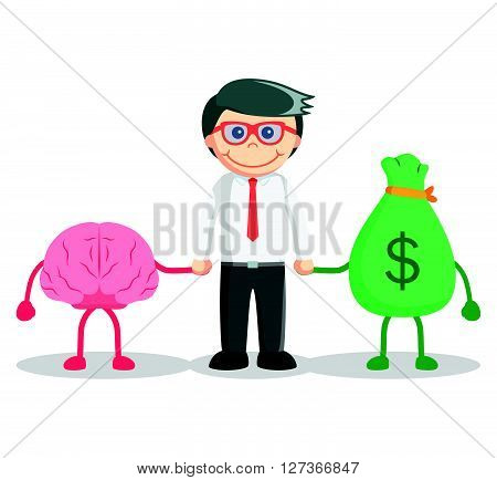 Genius business man  .eps 10 vector illustration flat design