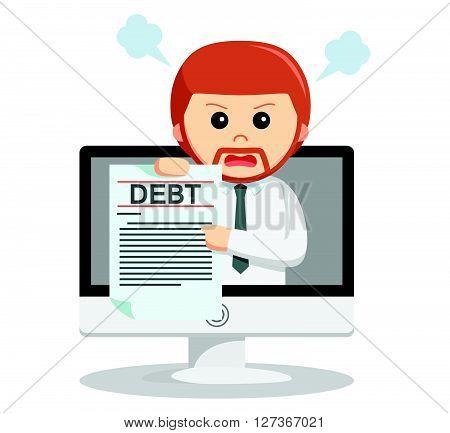 Business man online debt  .eps 10 vector illustration flat design