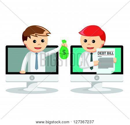 Business man paying debt online  .eps 10 vector illustration flat design