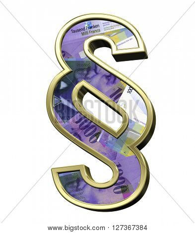 Paragraph sign from swiss franc bill alphabet set isolated over white. 3D illustration.