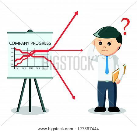 Business man confused arrow  .eps 10 vector illustration flat design