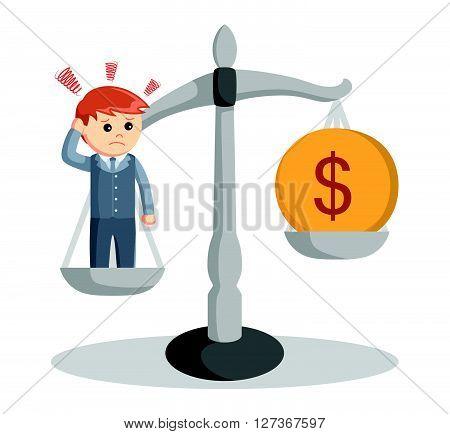 Business man sad scale  .eps 10 vector illustration flat design