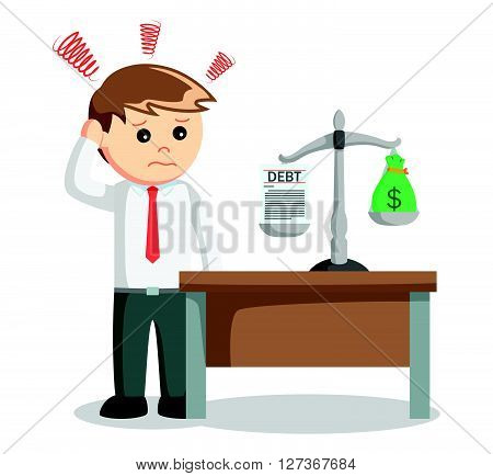 Businessman think business scale  .eps 10 vector illustration flat design