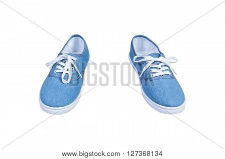 Pair Sneakers, Blue Color Isolated Background