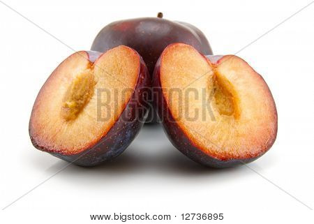 plums isolated on the white background