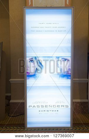 LAS VEGAS - April 13 : A display for the movie 'Passengers' at Caesars Palace during CinemaCon the official convention of the National Association of Theatre Owners on April 13 2016 in Las Vegas