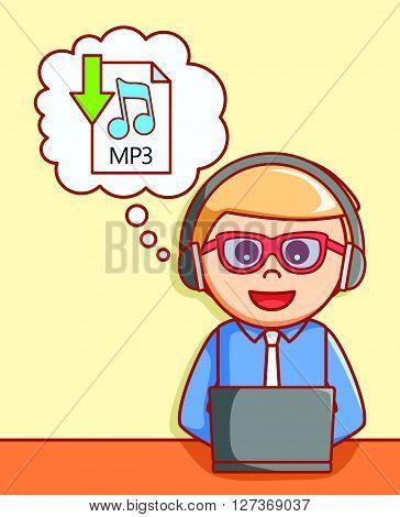 Music downloading  doodle illustration  .eps 10 vector illustration flat design