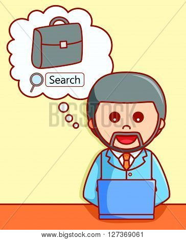Online job searching  doodle illustration  .eps 10 vector illustration flat design