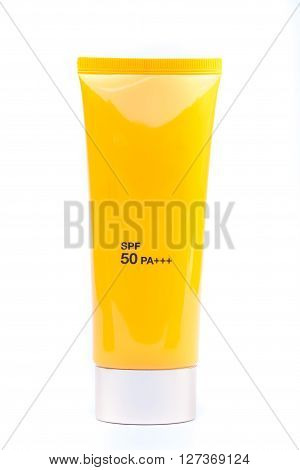 Tube container of sun cream on white background