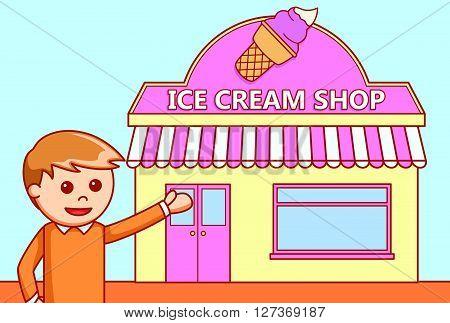 Ice cream shop  doodle illustration  .eps 10 vector illustration flat design