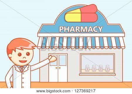 Drug store  doodle illustration  .eps 10 vector illustration flat design