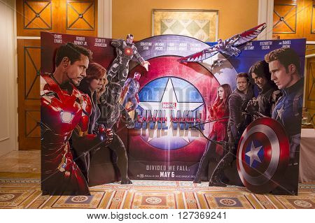 LAS VEGAS - April 13 : A display for the movie 'Captain America civil war' at Caesars Palace during CinemaCon the official convention of the National Association of Theatre Owners on April 13 2016 in Las Vegas