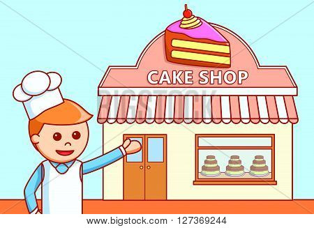 Cake shop store  doodle illustration  .eps 10 vector illustration flat design