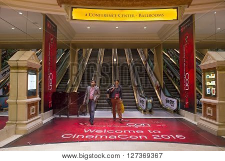 LAS VEGAS - April 13 : The CinemaCon show at the Caesars Palace in Las Vegas on April 13 2016. CinemaCon is the official convention of the National Association of Theatre Owners.