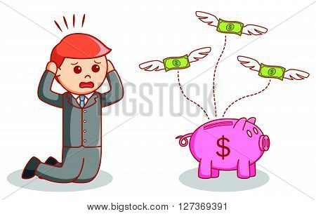 Businessman losing his money  .eps 10 vector illustration flat design