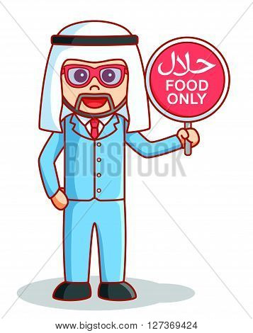 Arabian business man halal food sign  .eps 10 vector illustration flat design