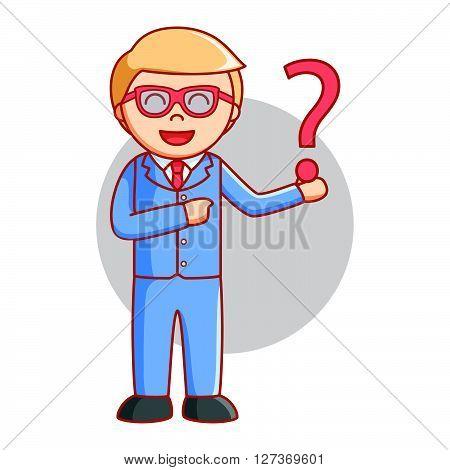 Business man wondering .eps10 editable vector illustration design