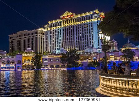 LAS VEGAS - April 13 : The Caesars Palace hotel and casino on April 13 2016 in Las Vegas. Caesars Palace is a luxury hotel and casino located on the Las Vegas Strip. Caesars has 3348 rooms in five towers
