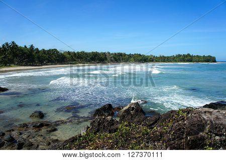 Beautiful seascape on a tropical island . Philippines. Palawan Island .