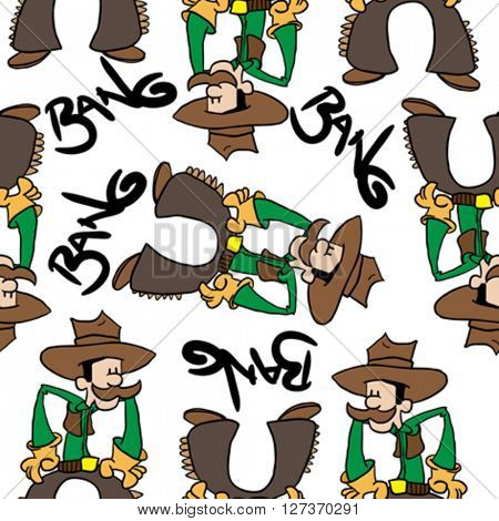 cowboy bang seamless pattern on white