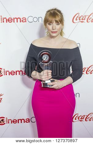 LAS VEGAS - APRIL 14 : Actress Bryce Dallas Howard recipient of the Excellence in Acting Award attends the CinemaCon Big Screen Achievement Awards at The Caesars Palace on April 14 2016 in Las Vegas