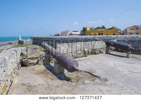 CARTAGENA COLOMBIA - FEB 04 : The San Felipe de Barajas casle in Cartagena Colombia on Februery 04 2016. The historic port city Cartagena is UNESCO World Heritage Site since 1984.
