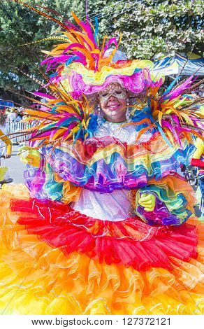 BARRANQUILLA COLOMBIA - FEB 07 : Participant in the Barranquilla Carnival in Barranquilla Colombia on February 07 2016. Barranquilla Carnival is one of the biggest carnival in the world
