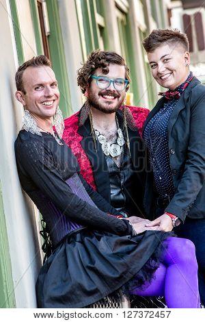 Three Smiling Gender Fluid Friends