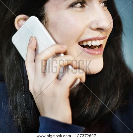 Girl Hoodie Cheerful Phone Call Concept
