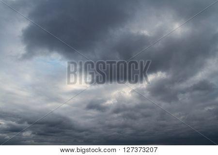 Dark cloudy sky in storm rainy season