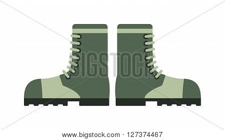 Old combat military boots leather combat soldier footwear vector illustration. Leather military boots and army uniform military boots. Soldier footwear military boots clothing uniform.