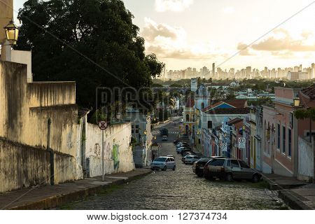 OLINDA, BRAZIL - CIRCA APRIL 2016: The beautiful city of Olinda and Recife on the background, Brazil