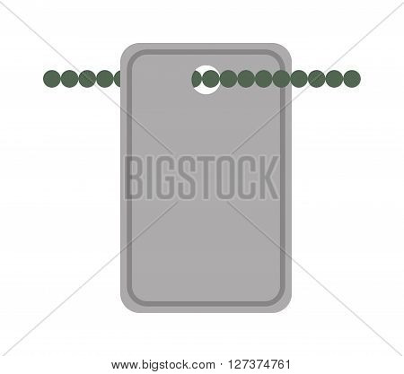 Army soldiers badge tag medallion metal chain vector illustration. Soldier medallion military accessory on chain. Metal soldier medallion for blood group and name of soldier. Soldier medallion.