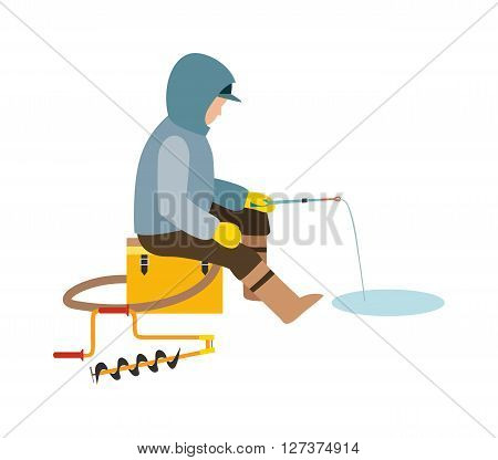 Fisherman enjoying days winter fishing on ice sport lake snow leisure vector illustration. Winter fisherman lake sport and winter fisherman hobby. Winter fisherman northern people.