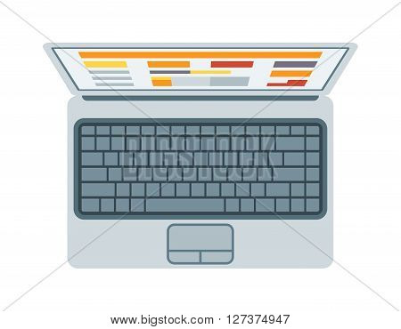 Top view of modern retina laptop keyboard isolated on white background technology communication vector. High quality laptop top view. Laptop technology top view and communication laptop top view.