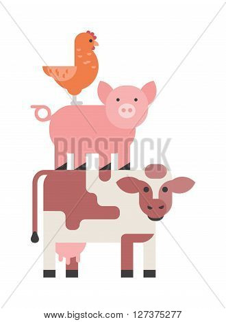Farm animals set, hen pig and cow domestic cartoon, nature, collection vector illustration. Farm animals collection and farm animal cute character set. Agriculture funny farm hen, farm pig, farm cow.