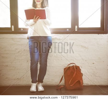 Woman Style Simplycity Backpack Reading Concept