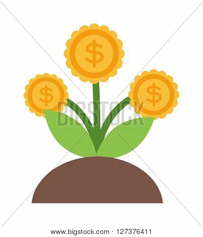 Vector flat icons design money flower dollar sign investment concept. Money flower currency business and money flower economic ideas decoration. Nature savings money flower success tree.