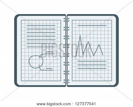 Mathematical drawing notebook vector with figures and equations, school education. School mathematics drawing and education mathematics drawing. Notebook mathematics drawing geometry vector sketch.
